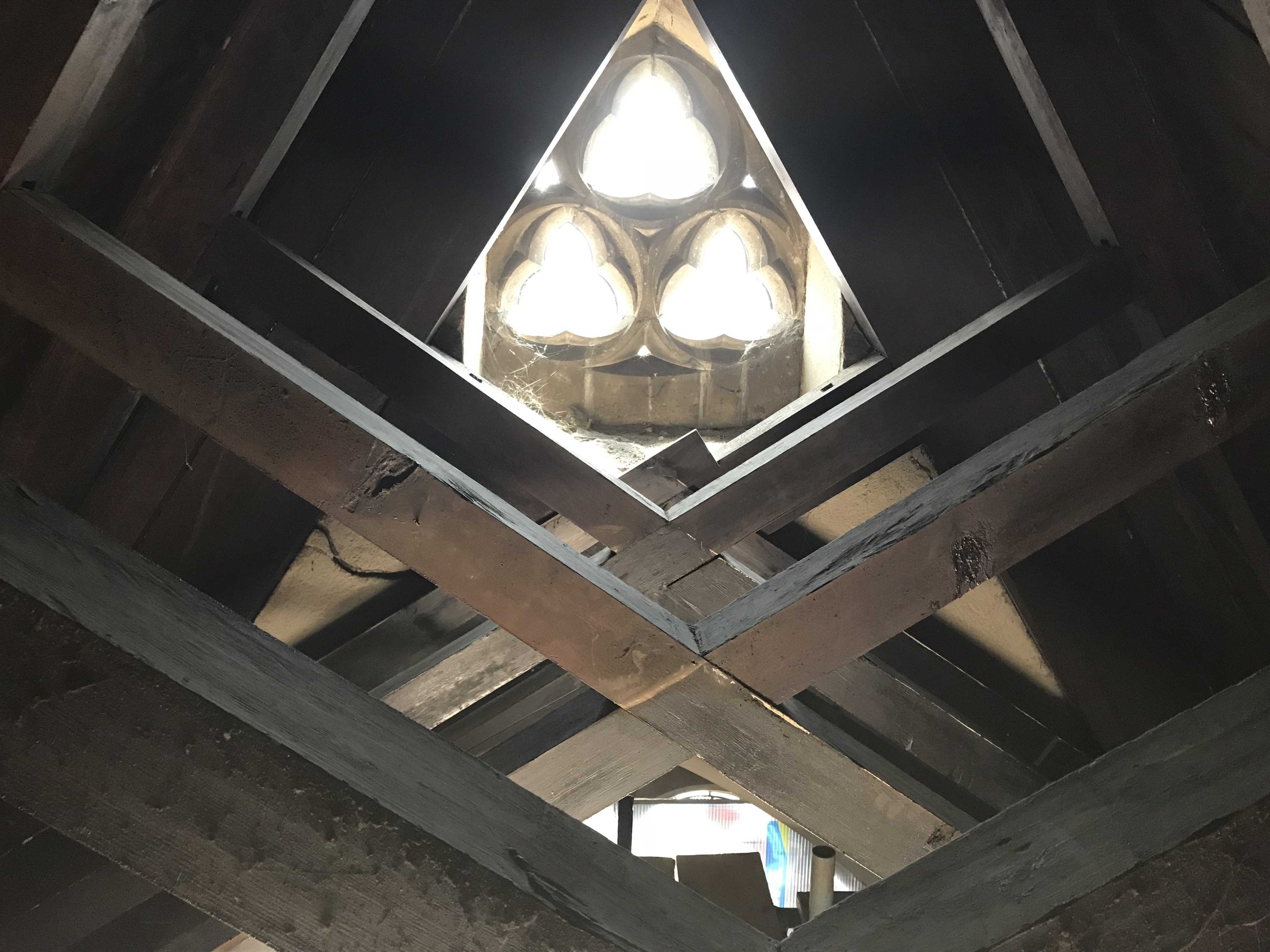 View through the scissor beams.